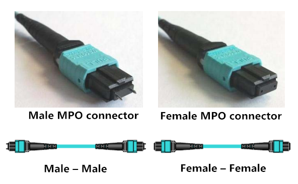 MPO patch cable male female polarity