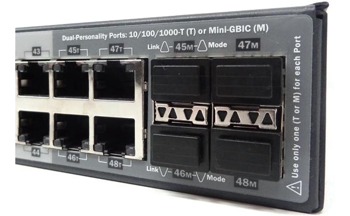 4 dual-personality ports of HPE 3500yl-48G-POE